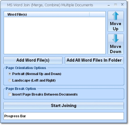 MS Word Join (Merge, Combine) Multiple Documents Software Screenshot 1