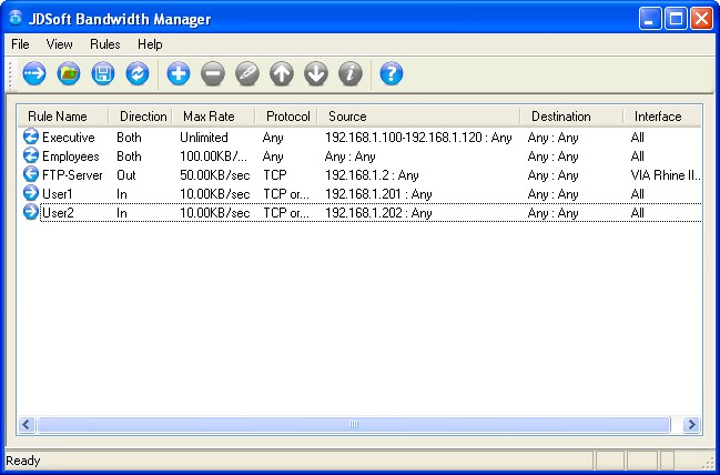 JDSoft Bandwidth Manager Screenshot