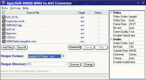 ApecSoft RMVB WMV to AVI Converter Screenshot