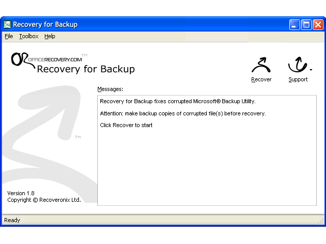 Recovery for Backup Screenshot 1