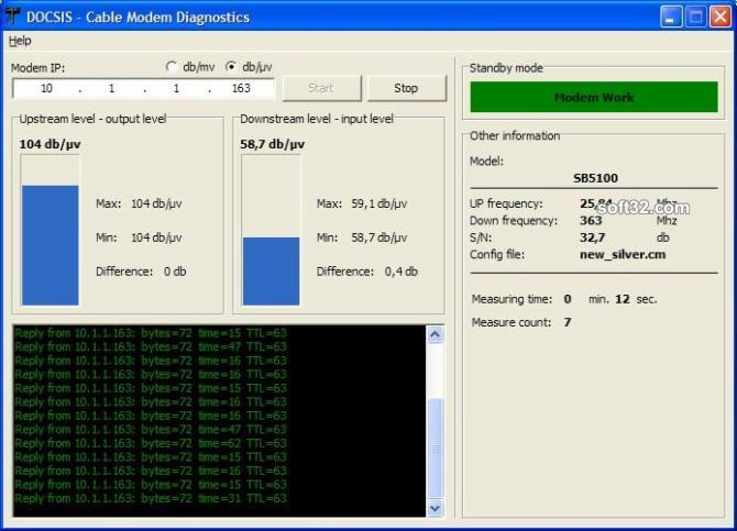 Cable Modem Diagnostic Screenshot 2