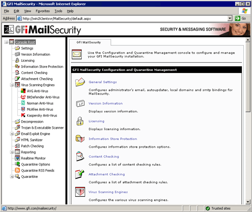 GFI MailSecurity for Exchange/SMTP Screenshot
