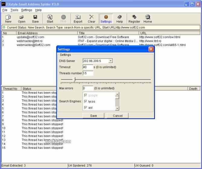FXstyle Email Address Spider Screenshot 2