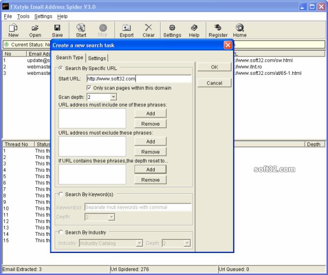 FXstyle Email Address Spider Screenshot 3