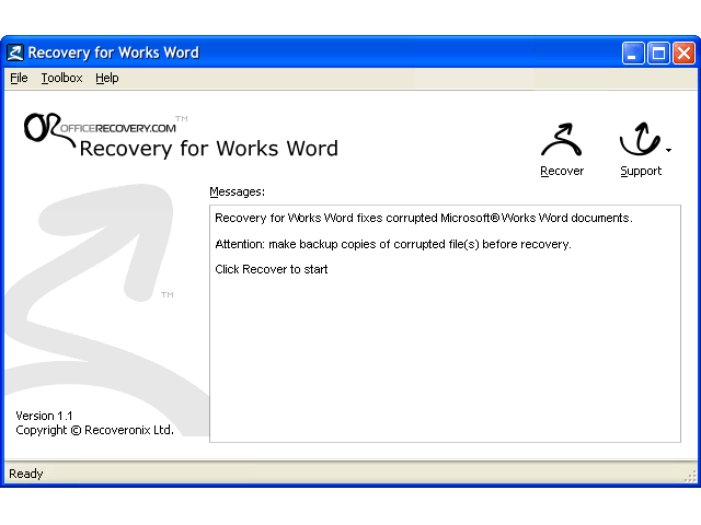 Recovery for Works Screenshot