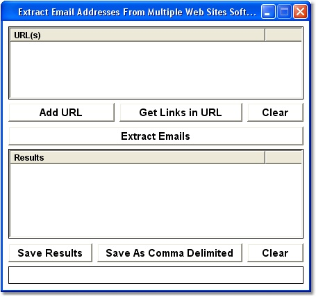 Extract Email Addresses From Multiple Web Sites Software Screenshot