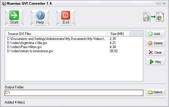 Naevius GVI Converter Screenshot