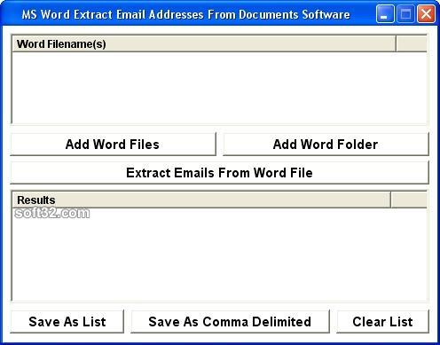 MS Word Extract Email Addresses From Documents Software Screenshot 2