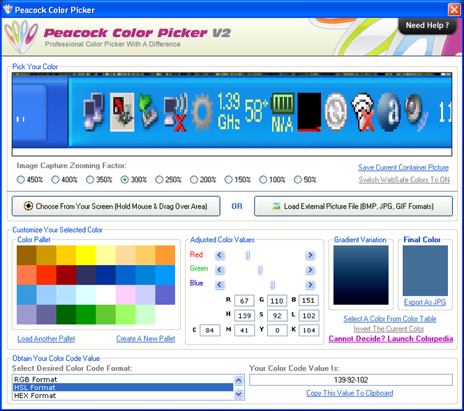 Peacock Color Picker Screenshot
