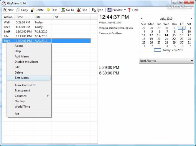 GigAlarm Screenshot 2