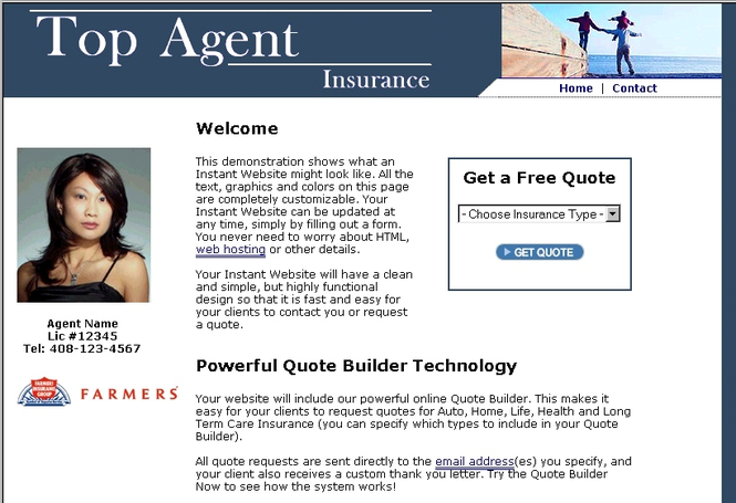 Insurance Agency Website Builder Screenshot