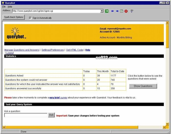 Querybot Web Knowledgebase/FAQ Screenshot 2