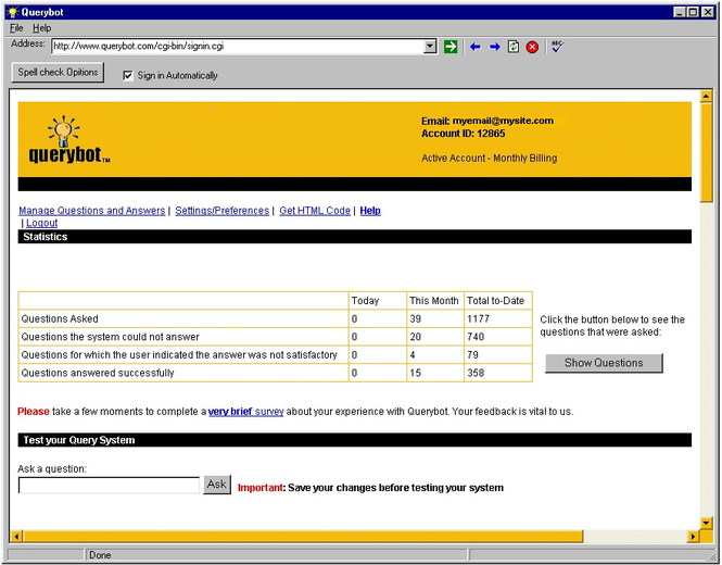 Querybot Web Knowledgebase/FAQ Screenshot 1