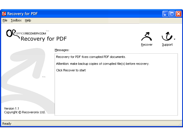 Recovery for PDF Screenshot