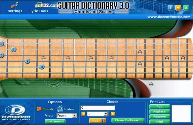 Guitar Chord Dictionary Screenshot
