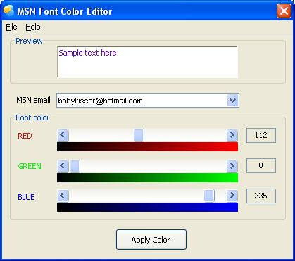 MSN Font Color Editor Screenshot 1