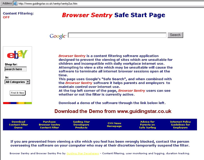 Browser Sentry Content Filter Screenshot