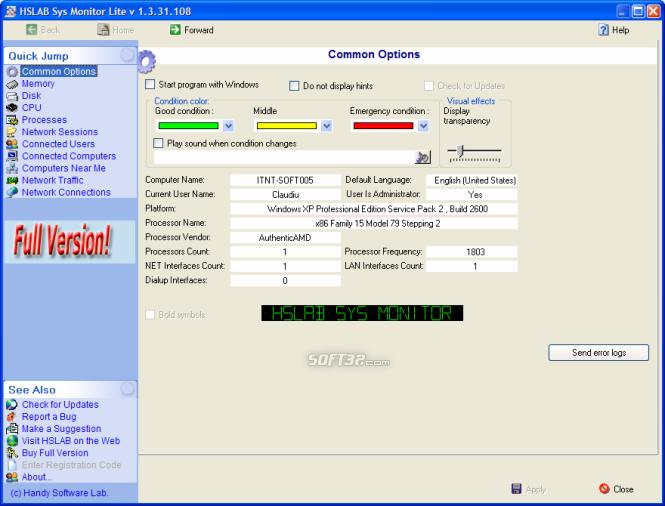 HSLAB Free Sys Monitor Screenshot 4