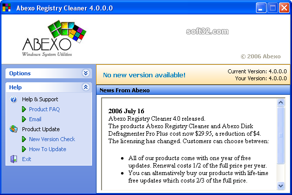 Abexo Registry Cleaner Screenshot 1