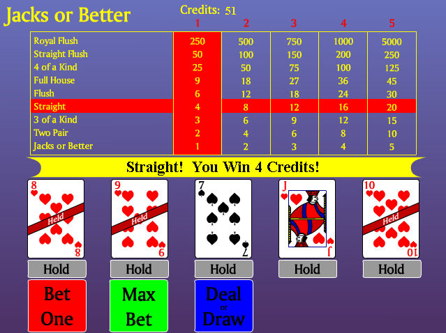 Video Poker - Jacks or Better Screenshot 1