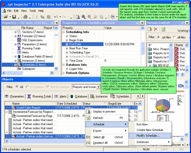 .rpt Inspector Enterprise Suite for Business Objects XI / Crystal Reports XI Screenshot