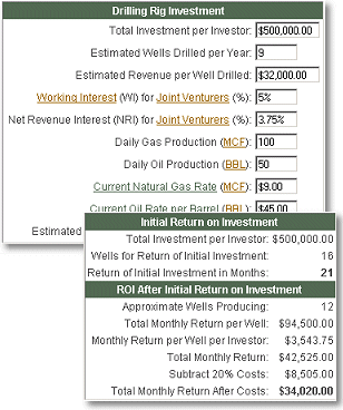 Drilling Rig Investment Calculator Screenshot