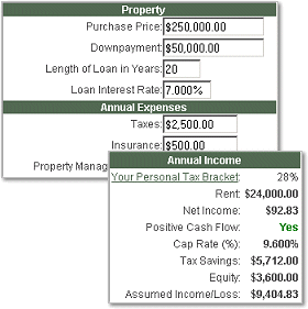 Rental Property Investment Calculator Screenshot