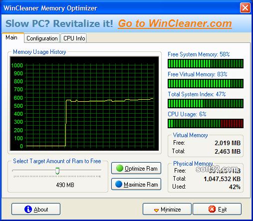 WinCleaner Memory Optimizer Screenshot 3