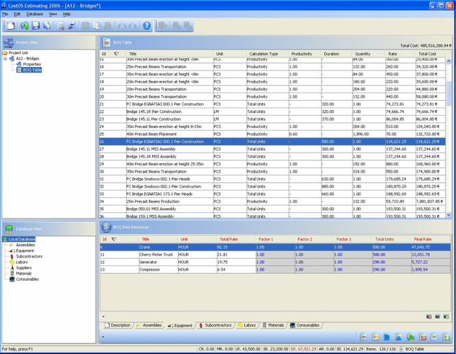 CostOS Estimating Standard Edition Screenshot