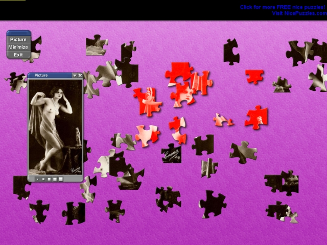 19th Century Nude Glamour Girls Puzzle Screenshot