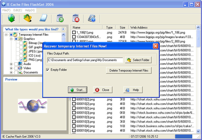 IE Cache Files FlashGet 2007 Screenshot