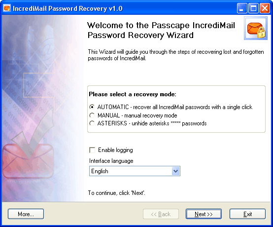 IncrediMail Password Recovery Screenshot