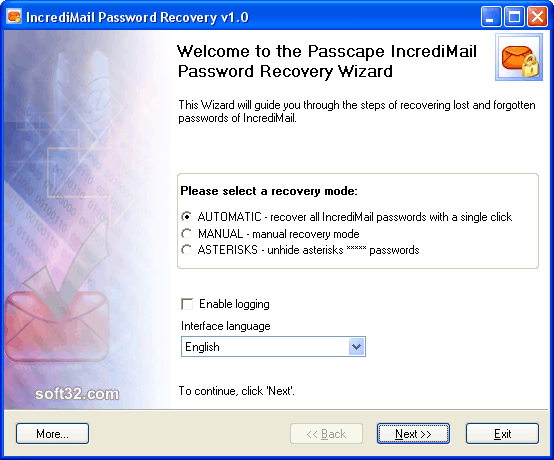 IncrediMail Password Recovery Screenshot 2