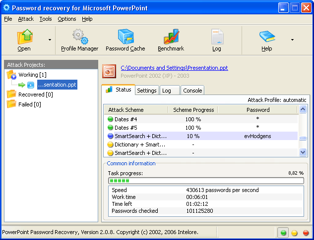 PowerPoint Password Recovery Screenshot