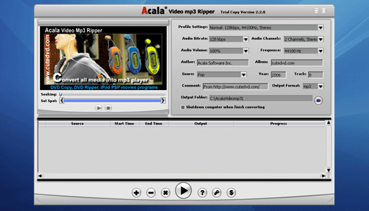 Acala Video mp3 Ripper Screenshot 1