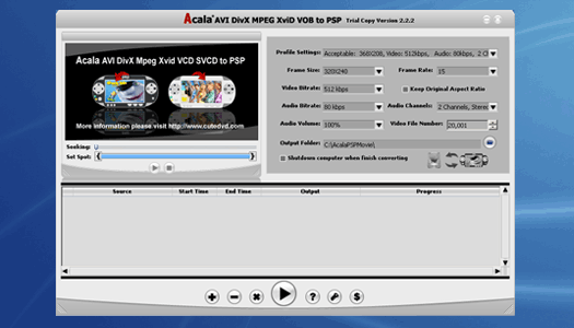 Acala AVI DivX MPEG XviD VOB to PSP Screenshot 1