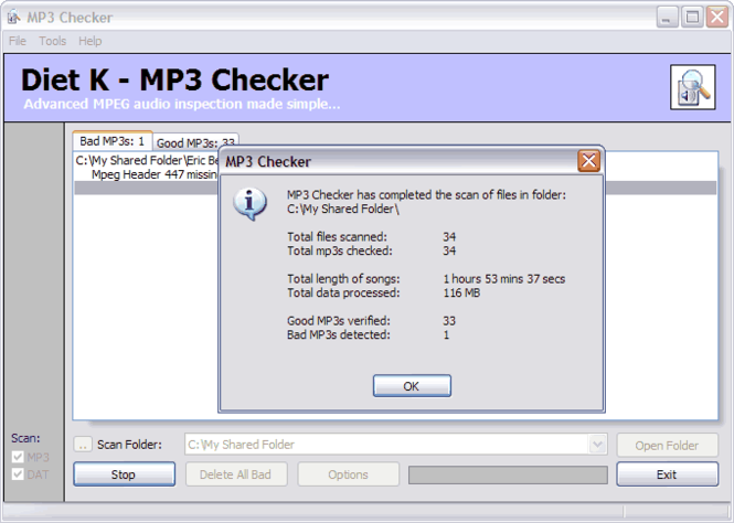 MP3 Checker Screenshot 1