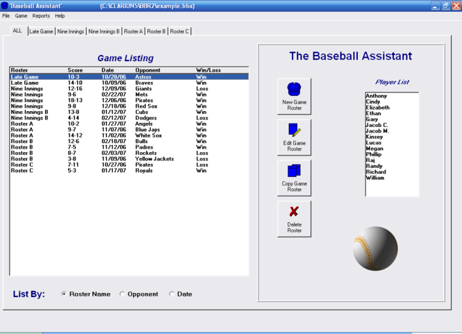 Baseball Roster Organizer Screenshot