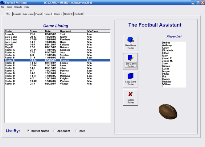 Football Roster Organizer Screenshot