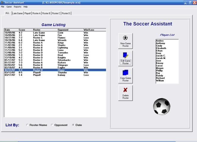Soccer Roster Organizer Screenshot