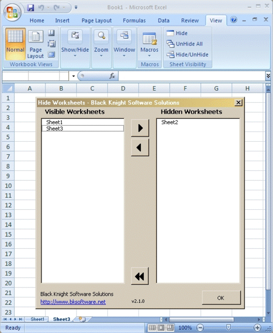 Hide Worksheets Screenshot