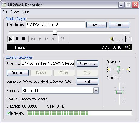 All2WMA Recorder Screenshot 1