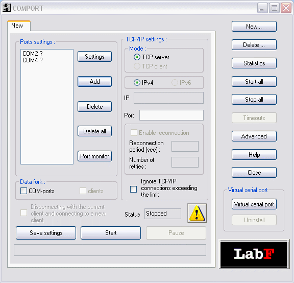 datAxe TCP IP serial data converter Screenshot