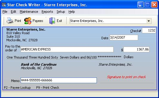 Star Check Writer Screenshot 1