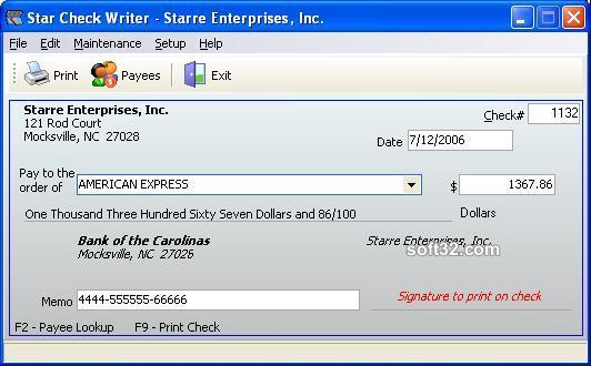 Star Check Writer Screenshot 3