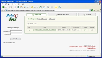Help Desk for IIS Screenshot