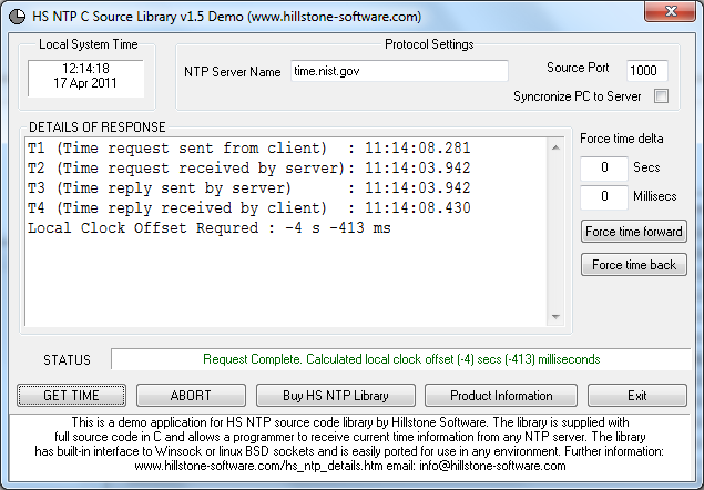 HS NTP C Source Library Screenshot