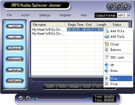 MP3 Audio Splitter Joiner Screenshot