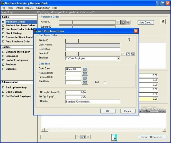 Business Inventory Manager Basic Screenshot