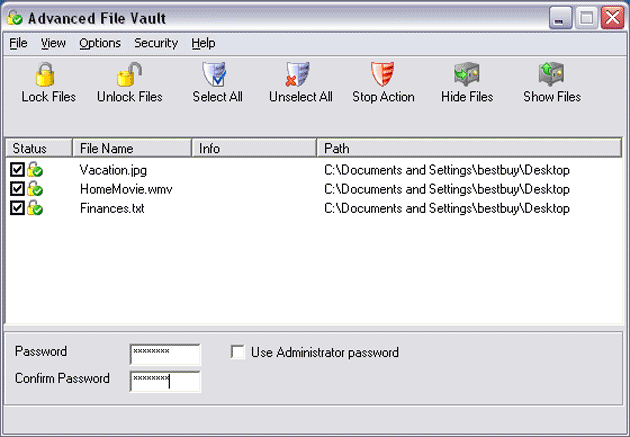 Advanced File Vault Screenshot